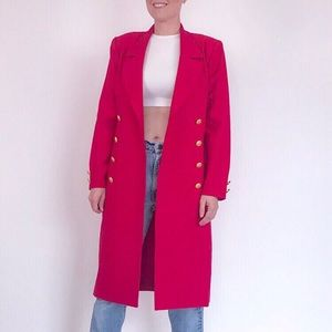 Vintage bright fuchsia pink wool trench coat